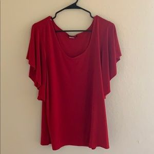Red flowy sleeves blouse top
